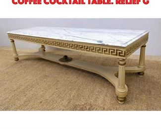 Lot 330 Marble Top French Style Coffee Cocktail Table. Relief G
