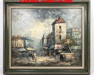 Lot 332 CAPTHER Oil Painting on Canvas. Street scene.