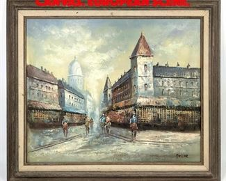 Lot 333 HUNTER Oil Painting on Canvas. European scene.