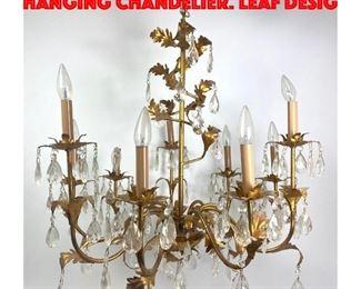 Lot 334 Italian style Gilt Metal Hanging Chandelier. Leaf desig