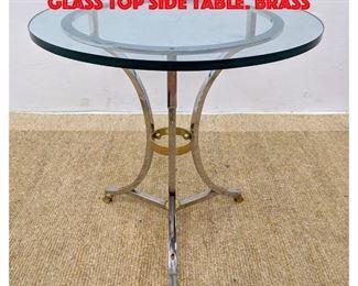 Lot 339 Regency style Chrome Brass Glass Top Side Table. Brass
