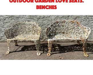 Lot 341 2pc Cast Iron Floral Outdoor Garden Love Seats. Benches