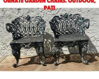 Lot 345 Contemporary Highly Ornate Garden Chairs. Outdoor, Pati