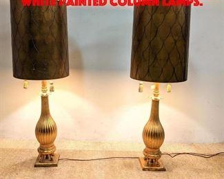 Lot 346 Pr NARDINI STUDIO Gold and White Painted Column Lamps.