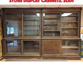 Lot 347 Pair Large Oak Apothecary Store Display Cabinets. Slidi