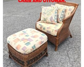 Lot 348 HENRY LINK Rattan Lounge Chair and Ottoman.