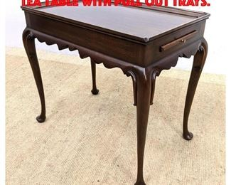 Lot 350 HENKEL HARRIS Queen Anne Tea Table with Pull Out Trays.