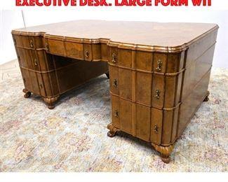 Lot 351 Art Deco Burl Wood Large Executive Desk. Large form wit