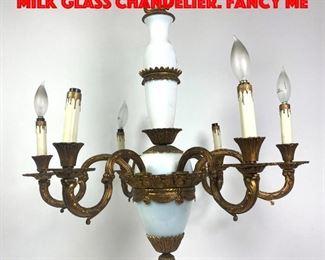 Lot 352 Regency style Brass and Milk Glass Chandelier. Fancy me