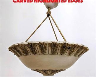 Lot 354 Alabaster chandelier with carved highlighted edges