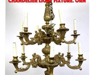 Lot 355 Heavy Cast Bronze Hanging Chandelier Light Fixture. Orn