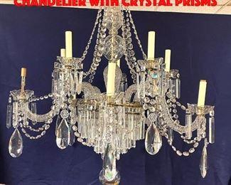 Lot 357 Impressive Large Crystal Chandelier With Crystal Prisms