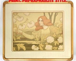Lot 358 PAUL BERTHON Lithograph Print. PreRaphaelite Style.
