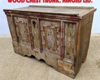 Lot 360 Vintage Paint Decorated Wood Chest Trunk. Hinged Lid.