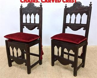 Lot 361 Antique Italian style Chairs. Carved crest