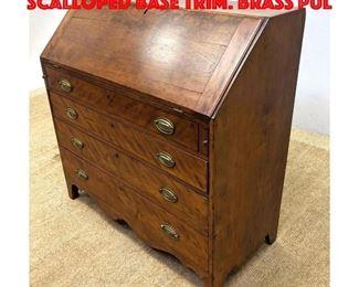 Lot 365 Antique Drop Front Desk. Scalloped base trim. Brass pul