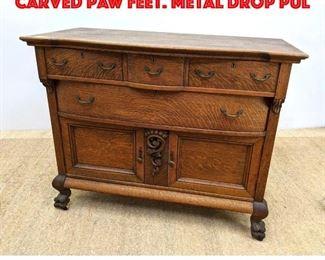 Lot 366 Antique Oak Server with Carved Paw feet. Metal Drop Pul