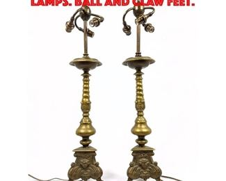 Lot 369 Pr Vintage Pricket Table Lamps. Ball and claw feet.