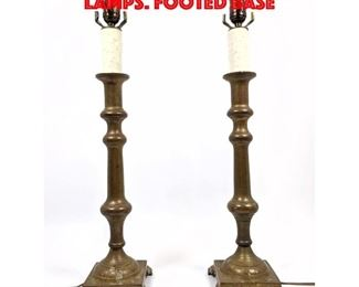 Lot 370 Pr Vintage Bronze Table Lamps. Footed Base