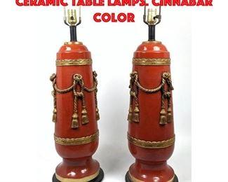 Lot 371 Pr Decorator Glazed Ceramic Table Lamps. Cinnabar Color