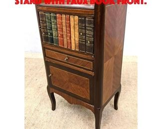 Lot 372 French Style Side Table Stand with Faux Book Front.