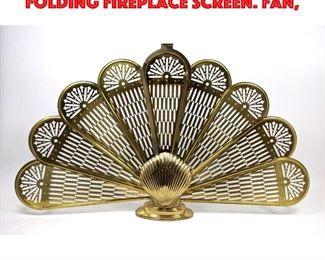 Lot 374 Shell Form Vintage Brass Folding Fireplace Screen. Fan,