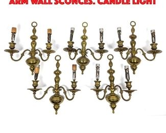 Lot 378 Set 5 Matching Brass Two Arm Wall Sconces. Candle Light