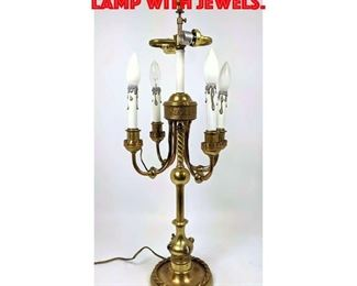 Lot 379 Antique Brass Candle Table Lamp with Jewels.
