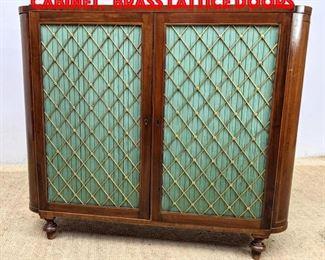Lot 381 Antique 2 Door Classical Cabinet. Brass lattice doors