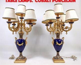 Lot 383 Pair CORSI ITALIA Candle Table Lamps. Cobalt Porcelain