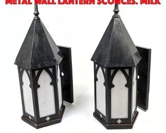 Lot 384 Pr Vintage Gothic Arch Metal Wall Lantern Sconces. Milk