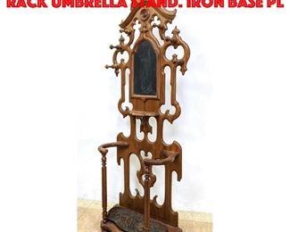 Lot 385 Victorian Walnut Hall Rack Umbrella Stand. Iron base pl