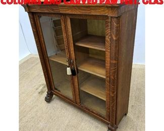 Lot 386 Antique Oak Bookcase. Columns and Carved Paw Feet. Glas