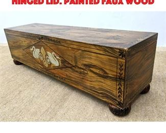 Lot 387 Painted Wood Trunk Chest. Hinged Lid. Painted Faux Wood