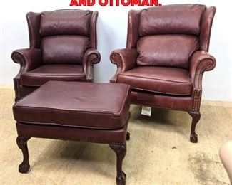 Lot 391 3pcs Leather Wing Chairs and Ottoman.