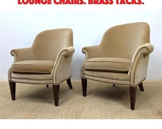 Lot 394 Pair BAKER Milling Road Lounge Chairs. Brass tacks.