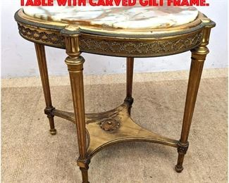 Lot 397 Antique Onyx Top Center Table with Carved Gilt Frame.
