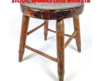 Lot 399 Primitive Vintage Four Leg Stool. Spindle legs with str