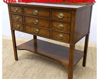 Lot 401 BAKER Furniture Server. Oval Brass Hardware. Lower Shel