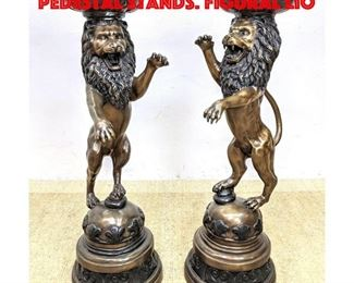 Lot 402 Pair Tall Bronze Lion Form Pedestal Stands. Figural lio