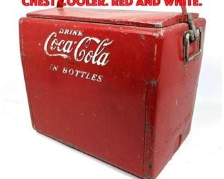 Lot 404 Vintage Coca Cola Ice Chest Cooler. Red and white.