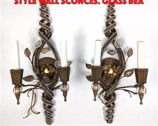 Lot 419 Pr Vintage Murano Italian style Wall Sconces. Glass bea