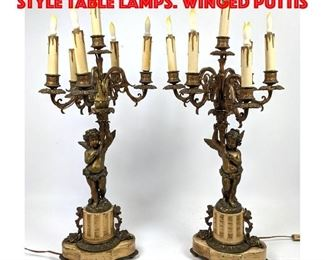 Lot 421 Pr Vintage Candelabra style Table Lamps. Winged puttis