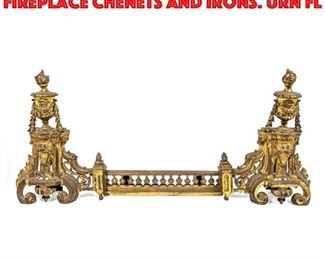 Lot 423 Antique Gilt Bronze Fireplace Chenets And Irons. Urn fl
