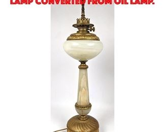 Lot 425 Alabaster and Brass Table Lamp Converted from Oil Lamp.