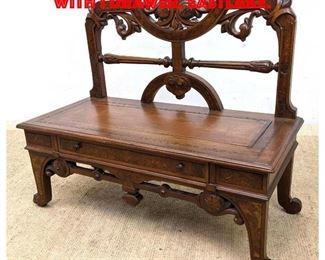 Lot 426 Victorian Bench Low Table with 1 Drawer. Eastlake.