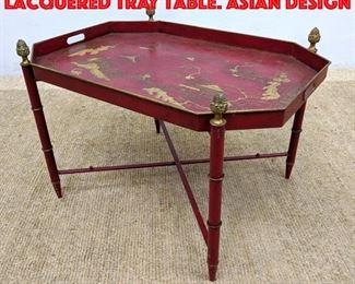 Lot 428 BERGDORF GOODMAN Red Lacquered Tray Table. Asian Design