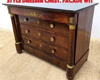 Lot 431 Black Marble Top Empire style Dresser Chest. Facade wit