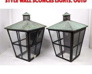 Lot 435 Pr Green Patina Lantern style Wall Sconces Lights. Outd