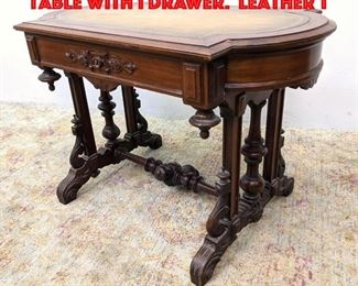 Lot 436 Victorian Walnut Center Table with 1 Drawer. Leather t